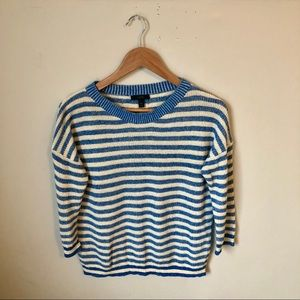 J. Crew linen/cotton striped sweater - blue/white